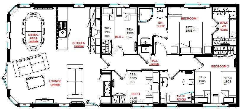 4 bed plan with sizes